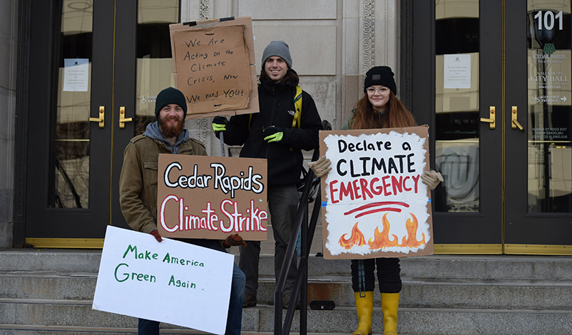 Ayla Boylen with other members of the Cedar Rapids Climate Strikers